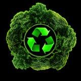 Recycleer embleem met boom en aarde Ecobol met kringlooptekens Stock Afbeeldingen