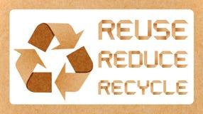 Recycleer Embleem met Kringloopconcept Stock Foto