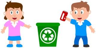 Recycleer en Jonge geitjes Royalty-vrije Stock Foto