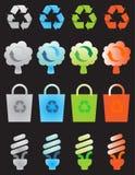 Recycleer geplaatste pictogrammen Royalty-vrije Stock Afbeeldingen