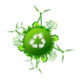 Recycleer groen de illustratieontwerp van het aardconcept Stock Foto's