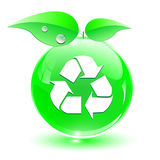 Recycleer, groen pictogram Stock Foto
