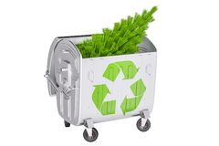Recycleer Kerstboomconcept, het 3D teruggeven Royalty-vrije Stock Afbeelding
