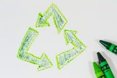 Recycleer in kleurpotlood Stock Fotografie