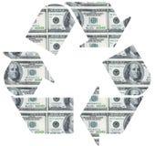 Recycleer op dollarrekening Royalty-vrije Stock Afbeelding