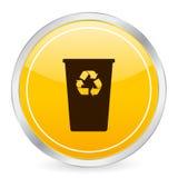 Recycleer pictogram van de bak het gele cirkel Stock Afbeelding