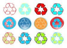 Recycleer pictogram vastgestelde vector Stock Foto