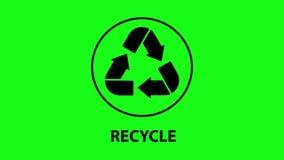 Recycleer pictogramanimatie Zwarte pijlen op het groen scherm stock videobeelden
