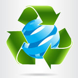 Recycleer pijlen en abstract blauw gebied Stock Foto