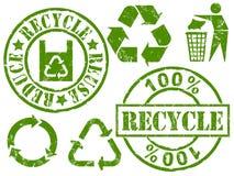 Recycleer rubberzegels royalty-vrije illustratie