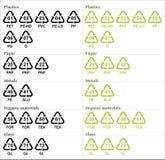 Recycleer symbolen met codes Stock Fotografie