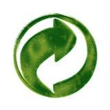 Recycleer symbool dat van gras wordt gemaakt Stock Foto