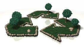 Recycleer Symbool in het Gras Royalty-vrije Stock Foto