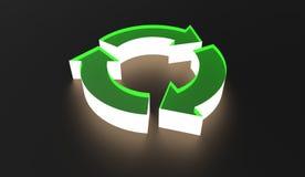 Recycleer Symbool het Verlichten in donkere 3d Illustratie Stock Afbeelding