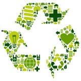 Recycleer symbool met milieupictogrammen Stock Afbeelding