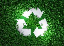 Recycleer symbool onder het gras Stock Foto's