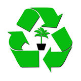 Recycleer teken en boom Stock Foto