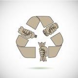 Recycleer tekenpictogram met handen Stock Afbeeldingen