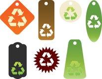 Recycleer themed markeringen Royalty-vrije Stock Afbeeldingen