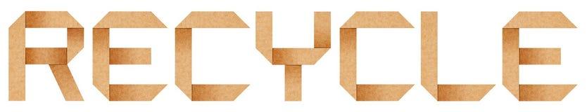 RECYCLEER woord van het document van de Origami Stock Afbeeldingen