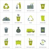 Recyclerend geplaatste huisvuilpictogrammen Stock Foto