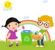 Recyclerend jongen en meisje royalty-vrije illustratie