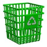Recyclerend mand op witte achtergrond wordt geïsoleerd die Royalty-vrije Stock Fotografie