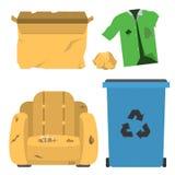 Recyclerend van het de bandenbeheer van huisvuil het vectorvuilniszakken huisvuil van de de ecologieindustrie gebruik de sorteren vector illustratie