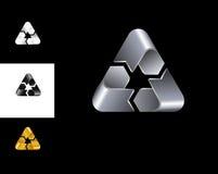Recyclerend van het het ontwerpmalplaatje van het tekenembleem zwart het witgoudzilver Royalty-vrije Stock Afbeeldingen