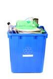 Recyclerende blauwe bak royalty-vrije stock foto's