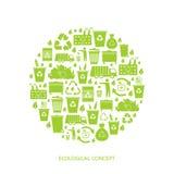 Recyclerende huisvuilpictogrammen Stock Afbeeldingen