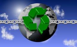 Recyclerende ketting en aarde Royalty-vrije Stock Fotografie