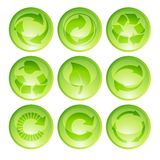 Recyclerende pictogrammen Stock Foto