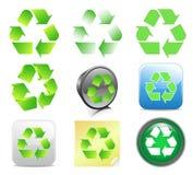 Recyclerende pictogrammen Royalty-vrije Stock Afbeeldingen