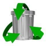 Recyclerende pijlen en huisvuilmand Royalty-vrije Stock Foto