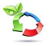 Recyclerende symbool en bladeren Stock Foto