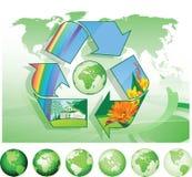 Recyclerende Wereld. Stock Afbeelding