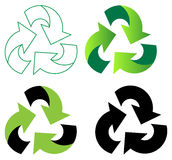 Recycles. Four recycles on white background Stock Photos