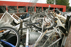 Recycling. Of old metal on a junk yard stock photo