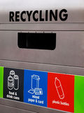 Recycling. Colorful recycling bin for different waste materials collection Stock Photo