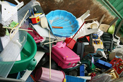 Recycling. Of old plastic on a junk yard Royalty Free Stock Image