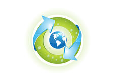Recycling. Blue world, the green circle and blue arrows Stock Photos