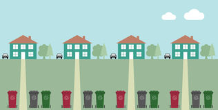 Recycling. Houses along street with recycling wheelie bins Royalty Free Stock Photos