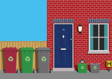 Recycling. Collection day at residential property Stock Image