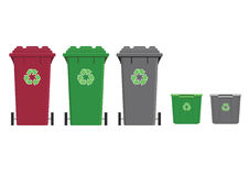 Recycling. Different types types of recycling collection bins Royalty Free Stock Photos