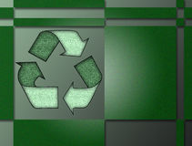 Recycling. Symbol in green framed by green rectangles Royalty Free Stock Photography
