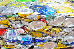 Recycling. Crushed aluminium can for recycling to maintain clean environment Stock Image
