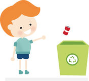 Recycling. Illustration of a cute redhead kid recycling Royalty Free Illustration