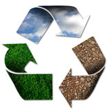Recycling. Symbol with sky, grass and earth Stock Photos