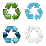 Recycling. Illustration of four recycling symbol with stylized water Stock Photo